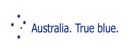 Australia True Blue logo, design by Robert C Johnston 2010