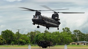 An Australian Defence Force Chinook transporting a water purification unit during the Queensland floods, January 2011