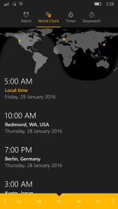Win 10 Mobile's world time clock with handy time converter